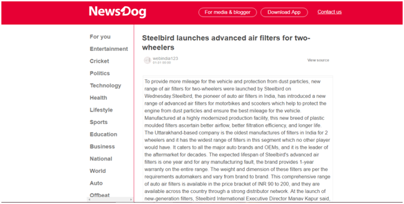 Steelbird launches advanced air filters for two wheelers