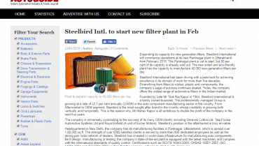 Steelbird Intl. to start new filter plant in Feb