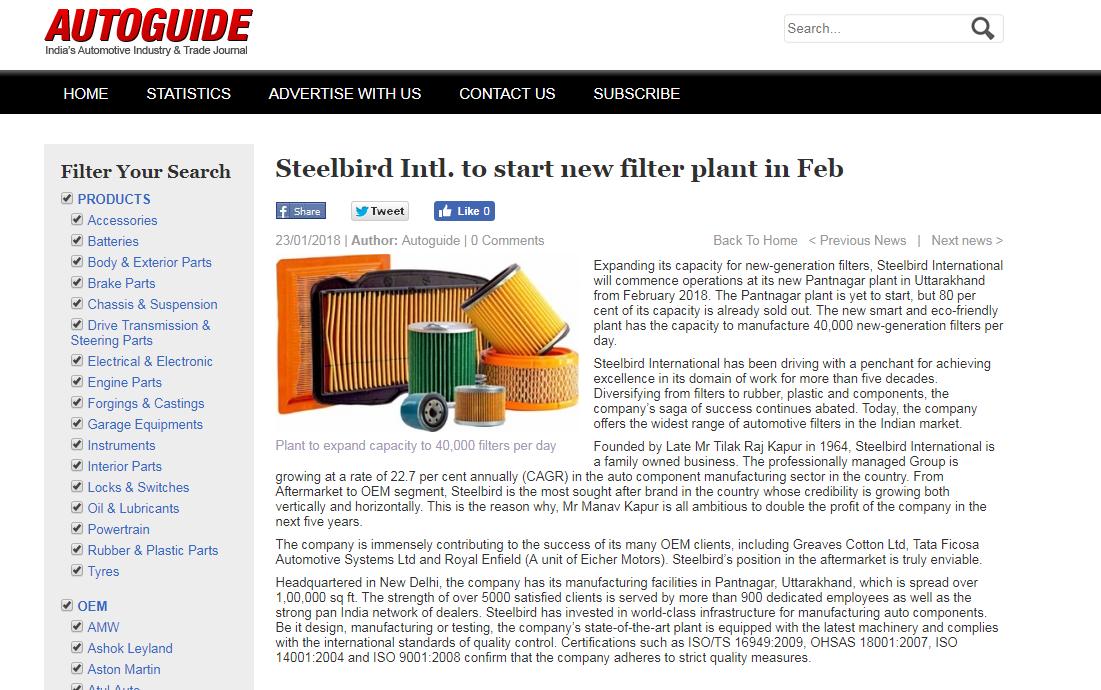 Steelbird Intl. to start new filter plant in Feb