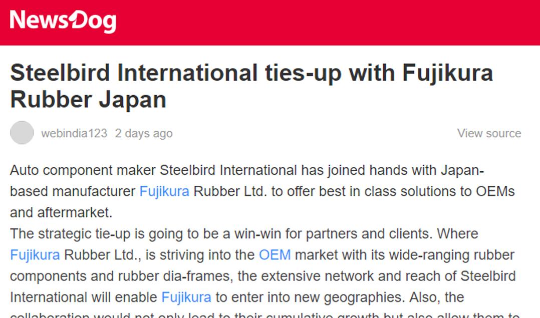 Steelbird International ties-up with Fujikura Rubber Japan