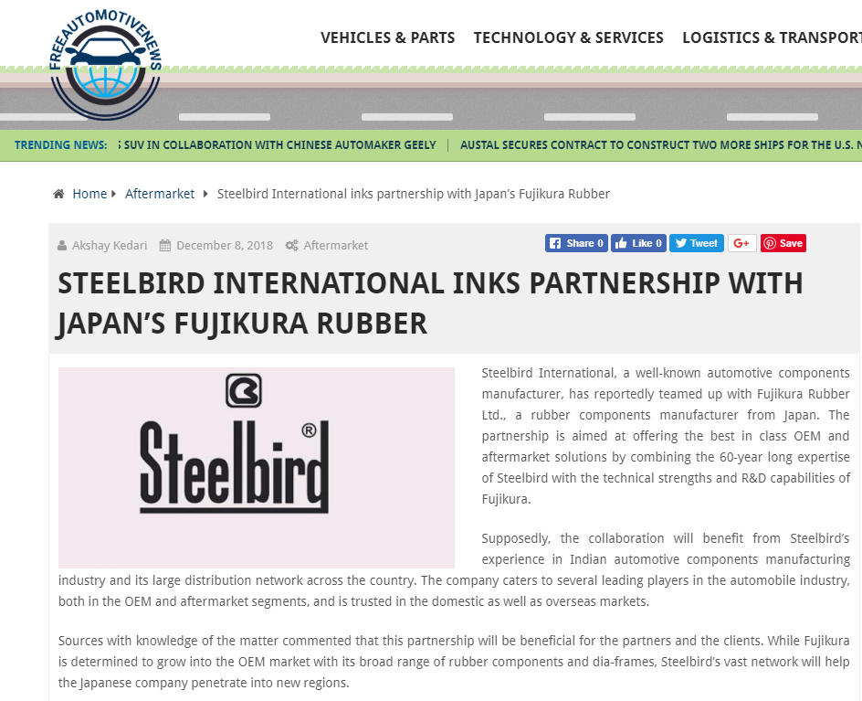 Steelbird International Inks Partnership with Japan's Fujikura Rubber