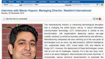 Interview with Manav Kapur, Managing Director, Steelbird International