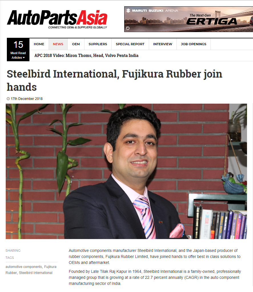 Steelbird International, Fujikura Rubber join hands