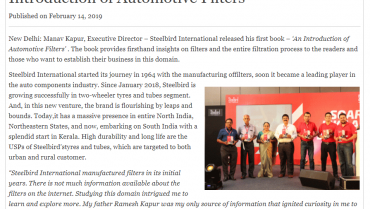 Manav Kapur Releases His First Book An Introduction Of Automotive Filters