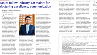 Companies Follow Industry 4.0 Mainly For Manufacturing Excellence, Communication