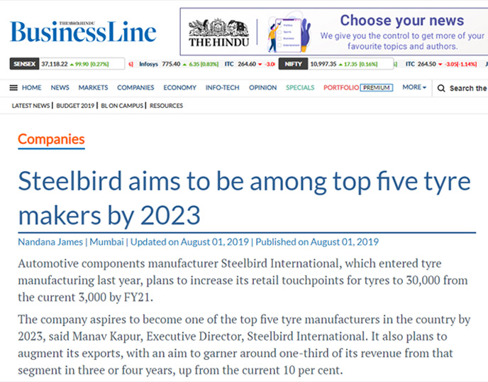 Steelbird aims to be among top five tyre makers by 2023