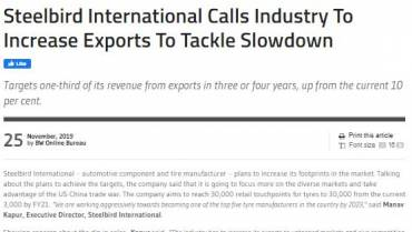 Steelbird International Calls Industry to Increase Export to Tackle Slowdown