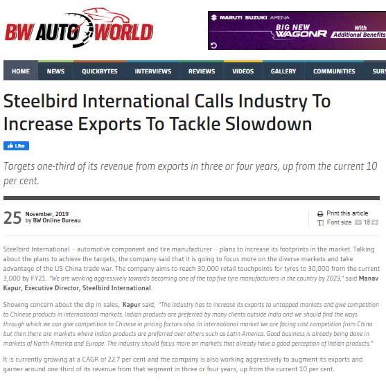 Steelbird International Calls Industry to Increase Export to Tackle Slowdown