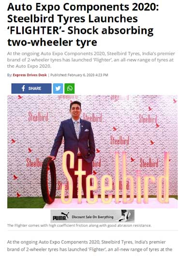 Auto Expo Components 2020: Steelbird Tyres Launches 'FLIGHTER'- Shock absorbing two-wheeler tyre
